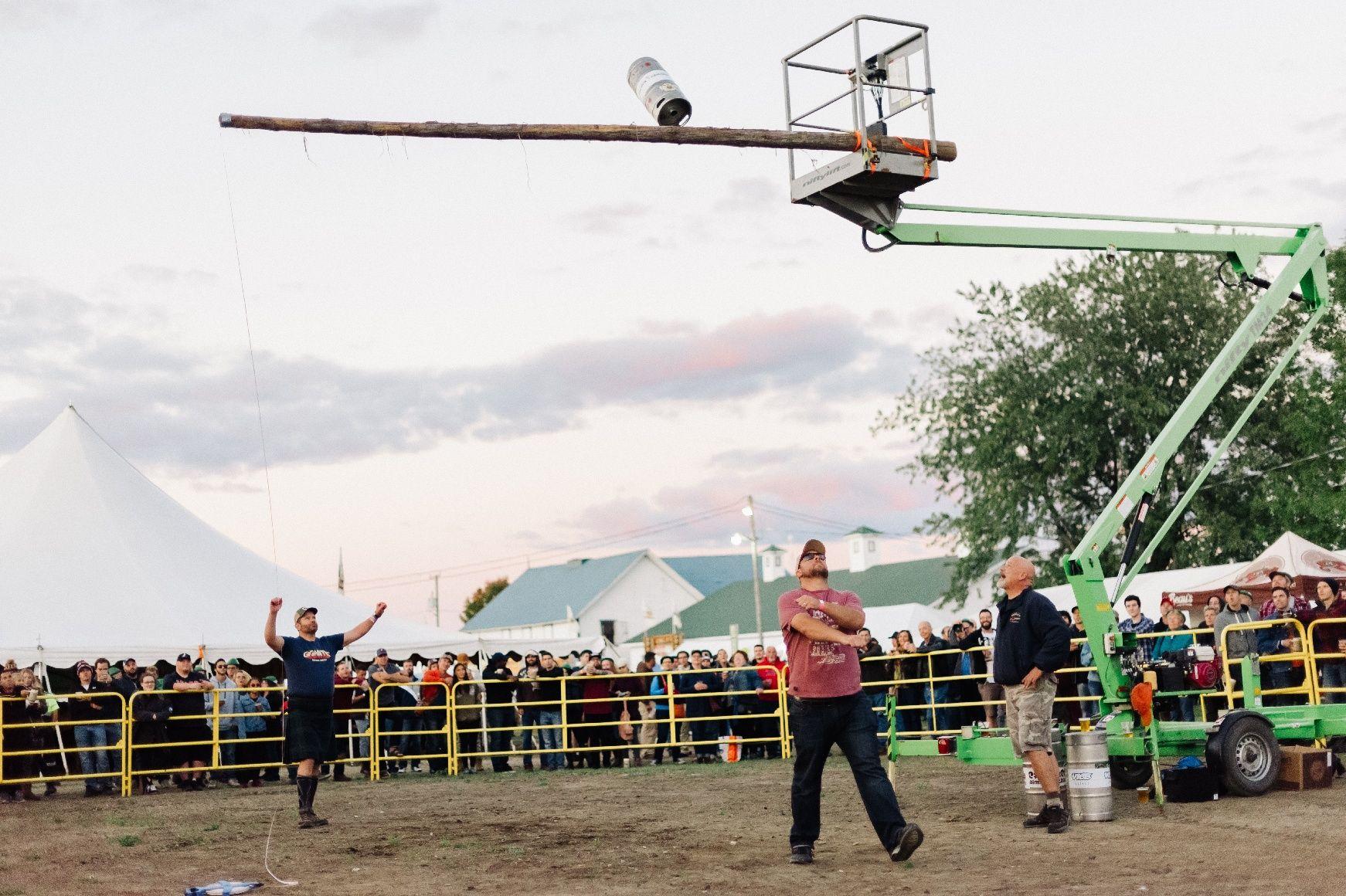 Keg toss at Beau's Oktoberfest