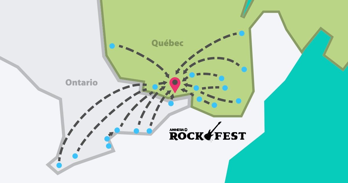 Map of cities with incoming bus trips to Rockfest