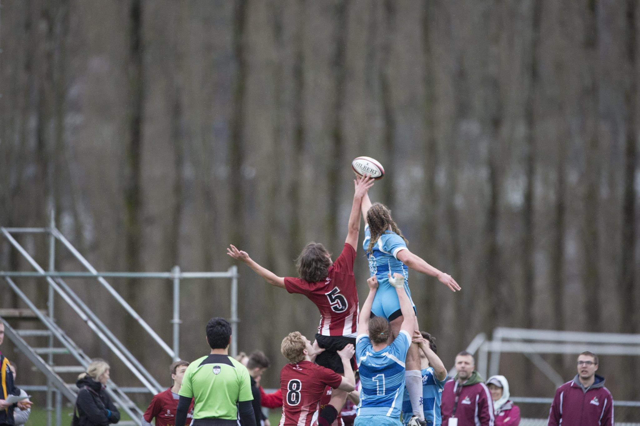 Women rugby players competing