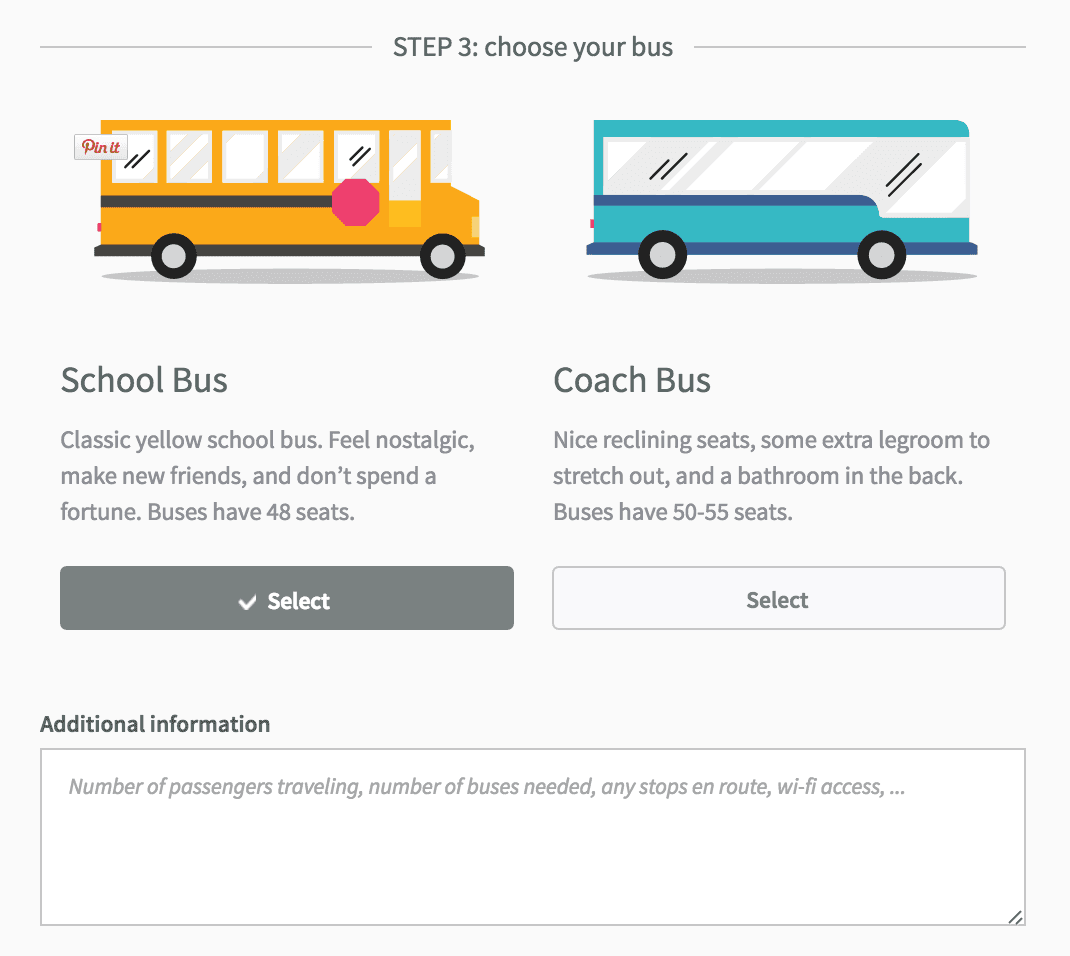 Choosing your bus type for your trip