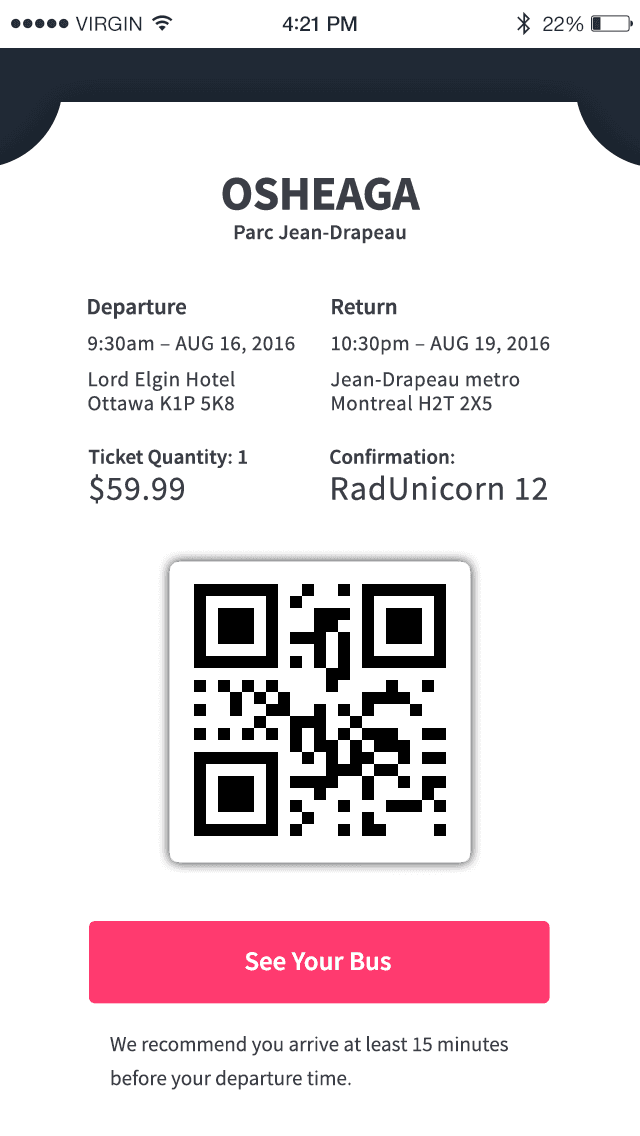 Bus ticket to event