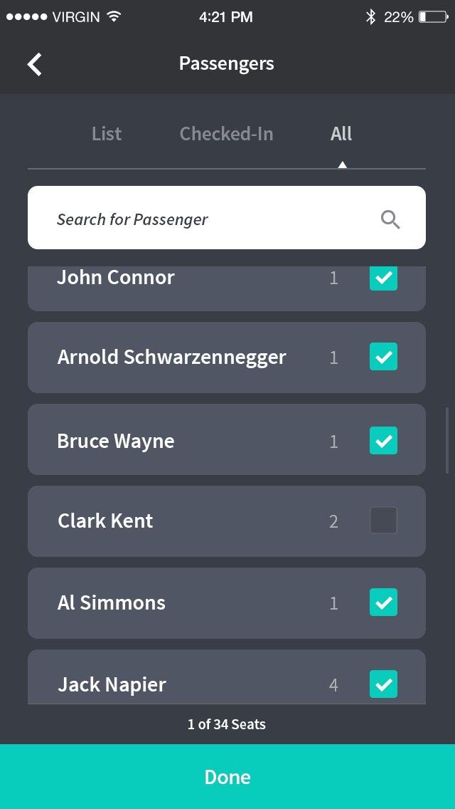 Passenger list for bus driver