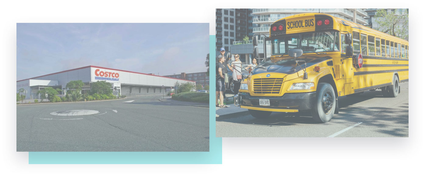 costco store and school bus