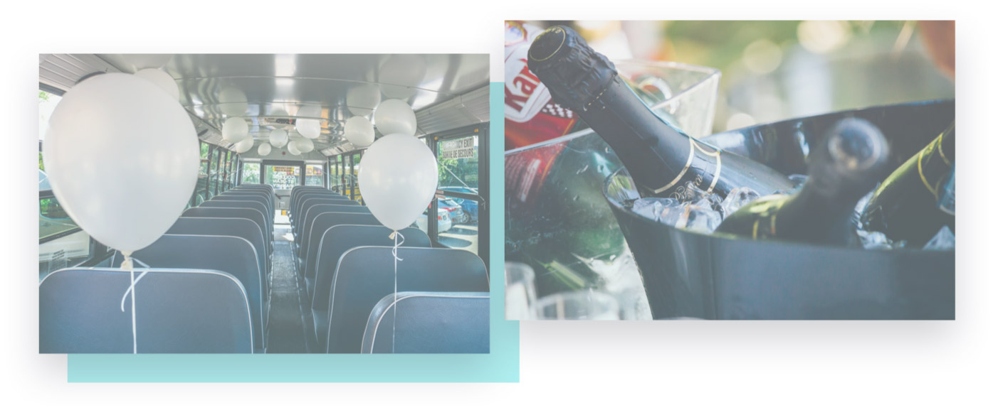 white ballons in a school bus and champagne bottles