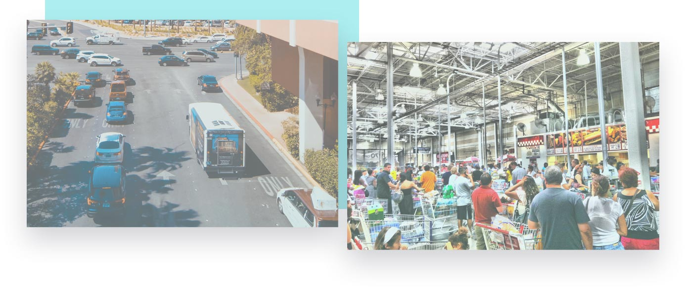 view of traveling bus from above and inside of a costco store